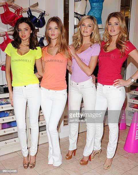 Victoria's Secret Supermodels Miranda Kerr Rosie HuntingtonWhiteley Candice Swanepoel and Doutzen Kroesat pose at Victoria's Secret 5th Annual What...