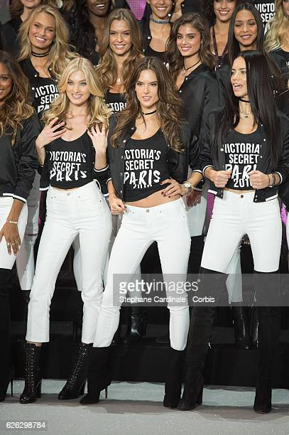 'Victoria's Secret' supermodels Romee Strijd Josephine Skriver Taylor Hill Lais Ribeiro Elsa Hosk Alessandra Ambrosio and Adriana Lima pose during a...