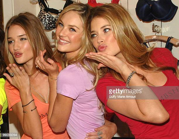 Victoria's Secret Supermodels Rosie HuntingtonWhiteley Candice Swanepoel and Doutzen Kroes Share Shopping Secrets Of A Supermodel at The Grove on May...