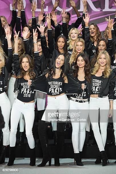 'Victoria's Secret' supermodels Stella Maxwell Joan Smalls Alessandra Ambrosio Adriana Lima Lily Aldridge Martha Hunt pose during a photocall to mark...