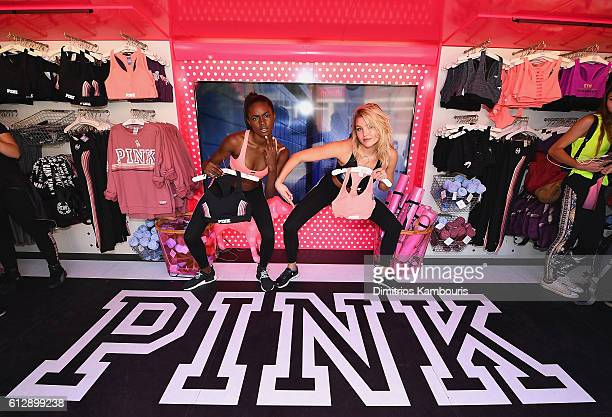 Victoria's Sectet models Zuri Tibby and Rachel Hilbert attend Victoria's Secret PINK Launches Ultimate Sports Bra at Ohio State University on October...