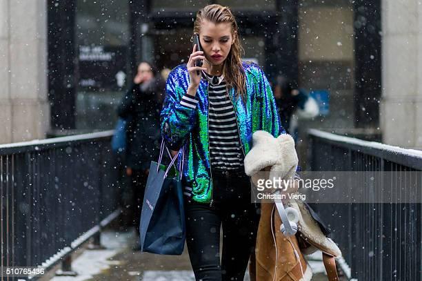 Victoria'u2019s Secret model Stella Maxwell seen outside Jeremy Scott during New York Fashion Week Women's Fall/Winter 2016 on February 15 2016 in...
