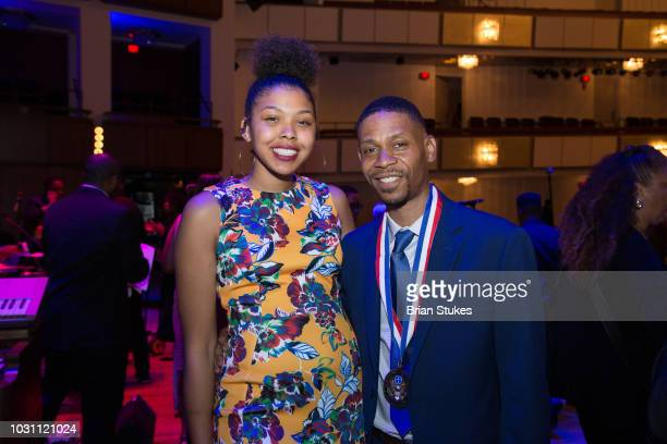 Victorie Franklin Granddaughter and Kecalf Franklin Son of Aretha Franklin attend 'Evolution of Gospel A Tribute to Aretha Franklin' at The Kennedy...