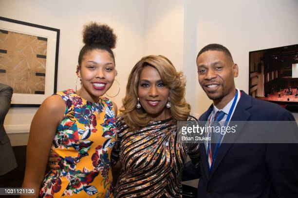 Victorie Franklin Granddaughter Jennifer Holliday and Kecalf Franklin Son of Aretha Franklin attend 'Evolution of Gospel A Tribute to Aretha...