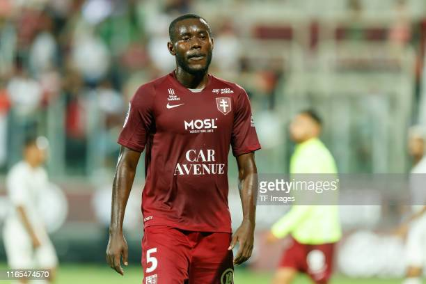 Victorien Angban of FC Metz looks on during the Ligue 1 match between FC Metz and Paris SaintGermain at Stade SaintSymphorien on August 30 2019 in...