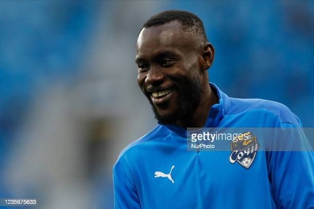 Victorien Angban of Sochi smiles during the warm-up ahead of the Russian Premier League match between FC Zenit Saint Petersburg and FC Sochi on...
