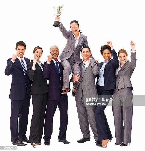 Victorious Business People With a Trophy - Isolated