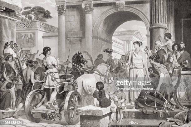 A victorious charioteer in ancient Rome accepting a laurel crown from a lady From Hutchinson's History of the Nations published 1915