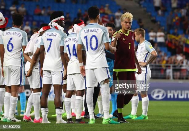 Victorious England players shake hands with Adalberto Penaranda of Venezuela after the FIFA U20 World Cup Korea Republic 2017 Final between Venezuela...