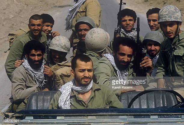 Victorious Iranian Revolutionary Guards in a jeep in Al-Fao Peninsula, Iraq, 15th February 1986. The Iranians launched a surprise attack against the...