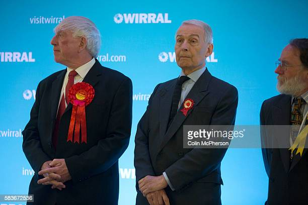 Victorious Labour Party candidate and sitting MP Frank Field waiting for the announcement of the result at Bidston Tennis Centre Wirral for the...