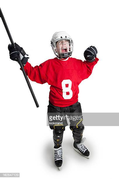 Victorious Youth Ice Hockey Player
