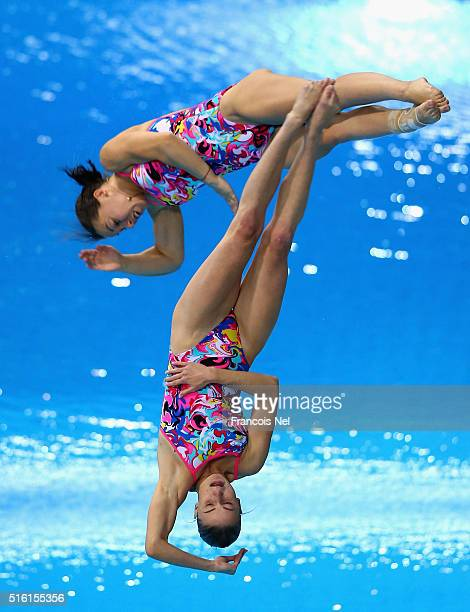 Victoriya Kesar and Anastasiia Nedobiga of Ukraine dives in the Women's 3m Synchro Springboard Final during day one of the FINA/NVC Diving World...