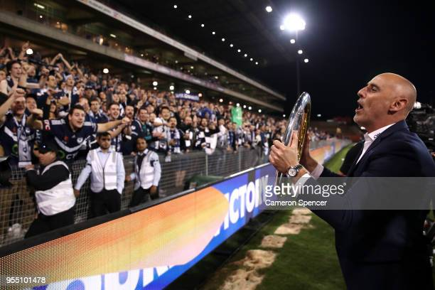 Victort coach Kevin Muscat celebrates winning the 2018 ALeague Grand Final match between the Newcastle Jets and the Melbourne Victory at McDonald...