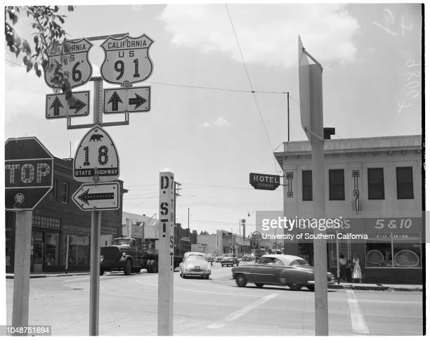 Victorville layout 8 June 1952 Frank E Chambers Attorney William JohnstoneMain intersection in VictorvilleBridge over Mojave River leading to...