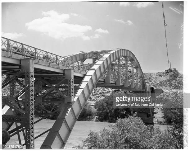 Victorville layout, 8 June 1952. Frank E Chambers ;Attorney William Johnstone;Main intersection in Victorville;Bridge over Mojave River leading to...