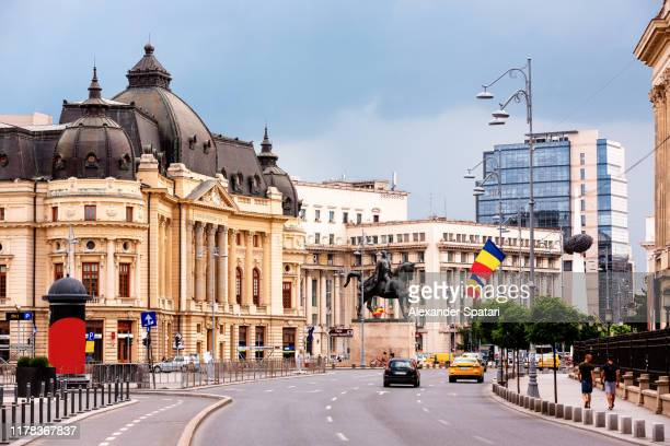 victory avenue (calea victoriei) in bucharest, romania - romania stock pictures, royalty-free photos & images