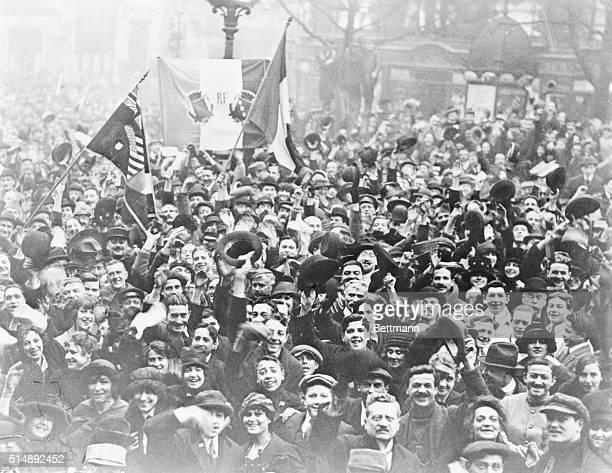 Victory celebration in Paris after the armistices 1918