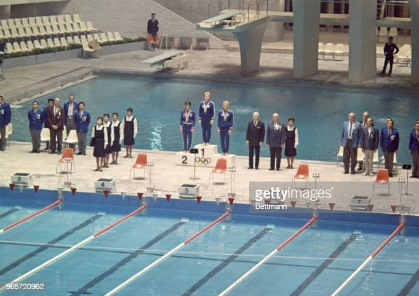 Victory ceremony in the Women's 200 Meter Breast Stroke competition Winner is Galina Prozumenschikova of Russia Second Place is Claudia Kole of the...