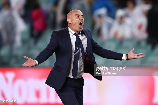 Victory coach Kevin Muscat celebrates at full time during the ALeague Semi Final match between Sydney FC and Melbourne Victory at Allianz Stadium on...