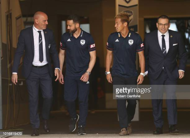 Victory coach Kevn Muscat Victory captain Carl Valeri Keisuke Honda and Victory Chairman Anthony Di Pietro at a Melbourne Victory ALeague press...