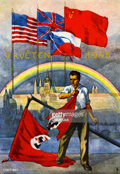 Victory Day 9 May 1945 Czech postcard Man shown ripping up flag of Nazi Third Reich in front of flags of USA United Kingdom Czech Republic and Soviet...