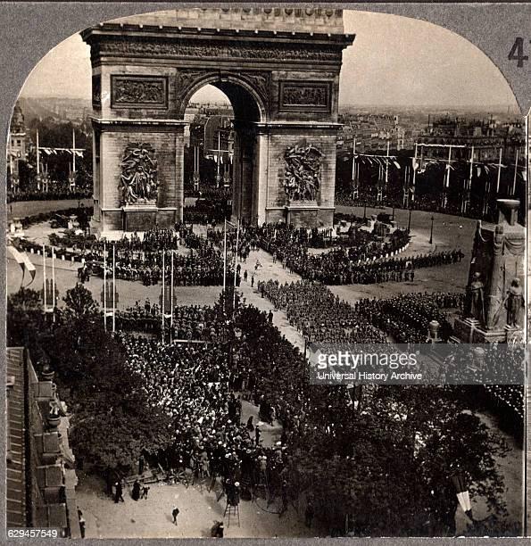 Victory Day Celebration, Arch de Triumph, Avenue des Champs-Eiysees, Paris, France, Single Image of Stereo Card, July 14 1919 .