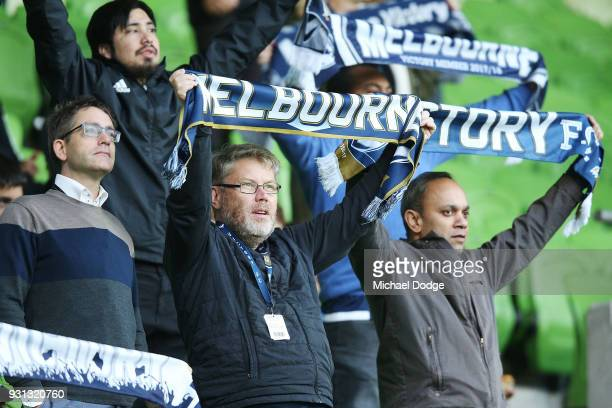 Victory fans show their support during the AFC Asian Champions League match between the Melbourne Victory and Kawasaki Frontale at AAMI Park on March...