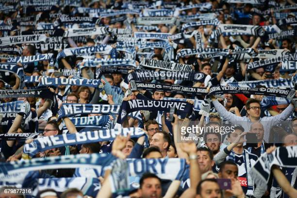 Victory fans support during the 2017 ALeague Grand Final match between Sydney FC and the Melbourne Victory at Allianz Stadium on May 7 2017 in Sydney...