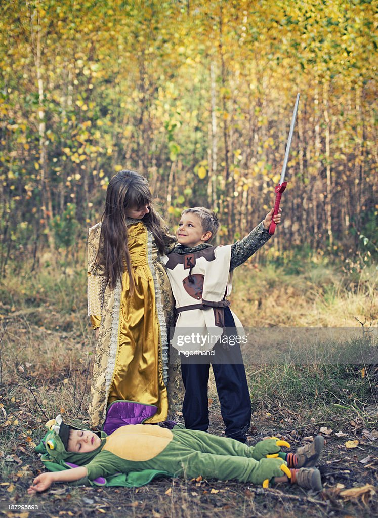 Victory for the little knight! : Stock Photo
