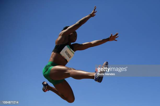 Victory George of Nigeria competes in Women's Long Jump Stage 2 during day 8 of Buenos Aires 2018 Youth Olympic Games at Youth Olympic Park Villa...