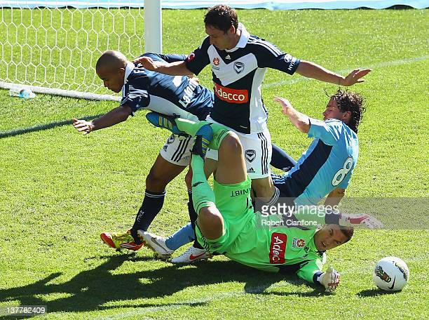 Victory goalkeeper Ante Covic fails to hold the ball during the round 17 A-League match between the Melbourne Victory and Sydney FC at AAMI Park on...