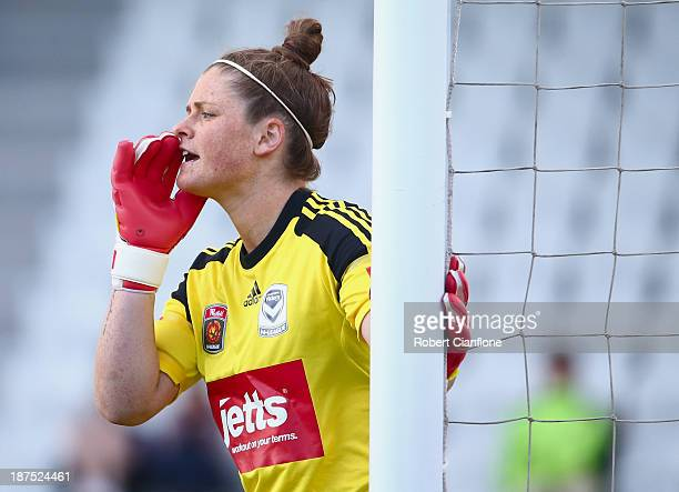 Victory goalkeeper Brianna Davey calls out to a team mate during the round one WLeague match between the Melbourne Victory and Sydney FC at Lakeside...