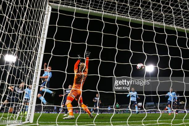 Victory goalkeeper Lawrence Thomas fails to stop a goal by Siem De Jong of Sydney FC during the A-League Semi Final match between Sydney FC and the...