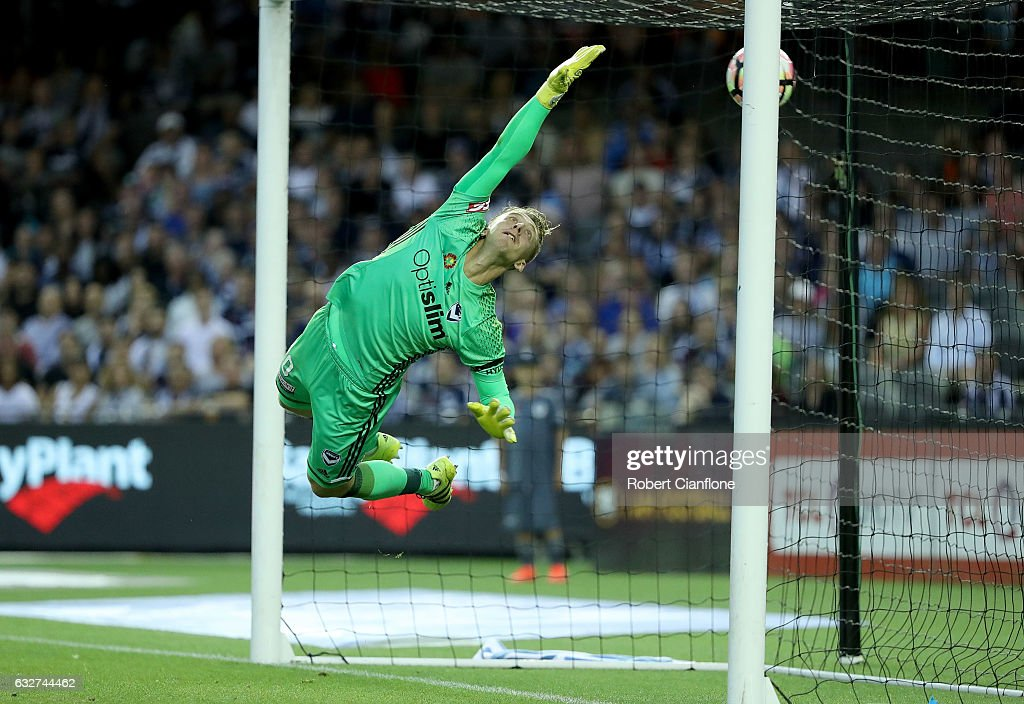 Victory goalkeeper Lawrence Thomas is beaten by a shot from Filip Holosko of Sydney FC during the round 17 A-League match between the Melbourne Victory and Sydney FC at Etihad Stadium on January 26, 2017 in Melbourne, Australia.