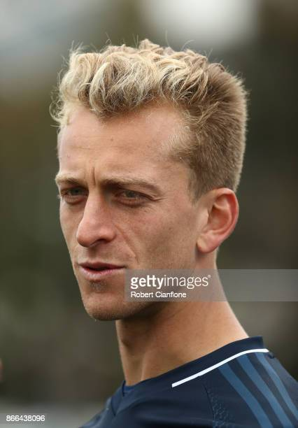 Victory goalkeeper Lawrence Thomas speaks to the media after a Melbourne Victory ALeague training session at Gosch's Paddock on October 26 2017 in...