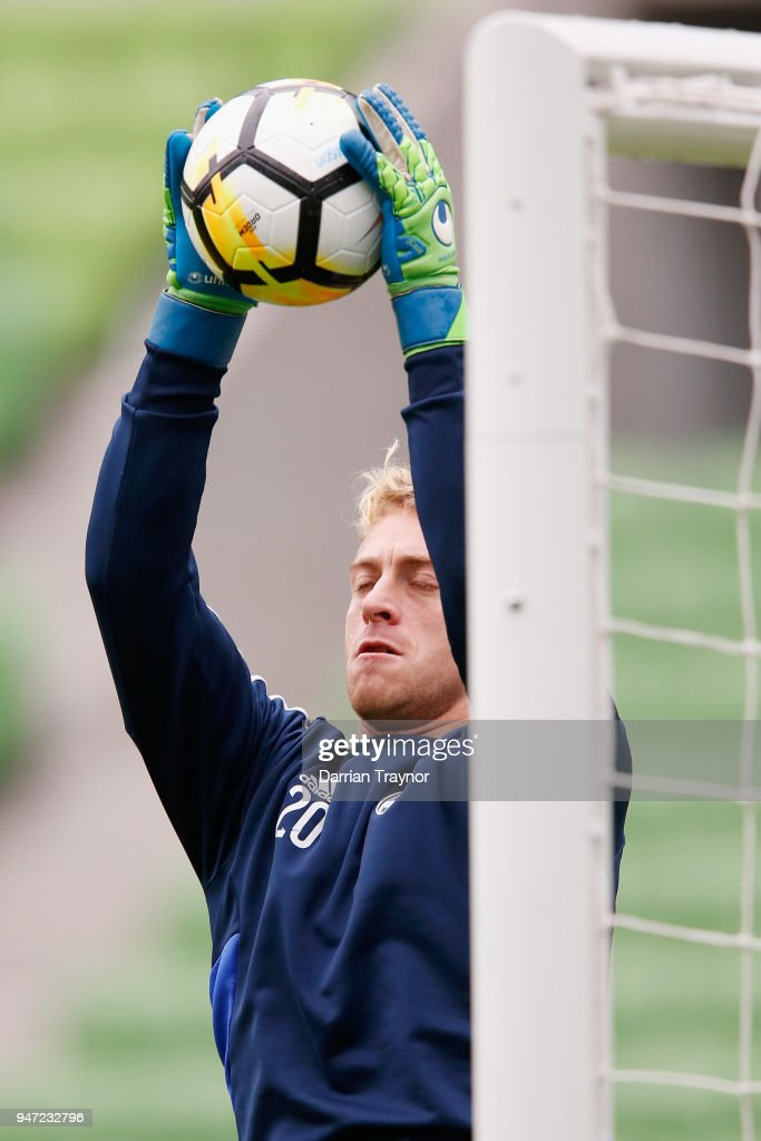 Victory goalkeeper Lawrence Thomas takwes part during a Melbourne Victory training session at AAMI Park on April 17, 2018 in Melbourne, Australia.