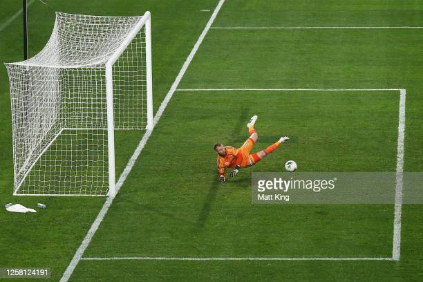 Victory goalkeeper Matthew Acton makes a save during the round 28 A-League match between Melbourne Victory and Western United at Bankwest Stadium on...