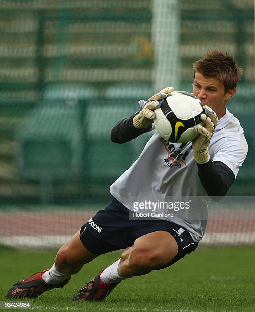 Victory goalkeeper Mitchell Langerak makes a save during a Melbourne Victory A-League training session at Olympic Park on November 26, 2009 in...