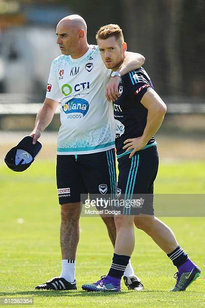 Victory head coach Kevin Muscat hugs Oliver Bozanic of the Victory after talking to him at length during a Melbourne Victory ALeague training session...