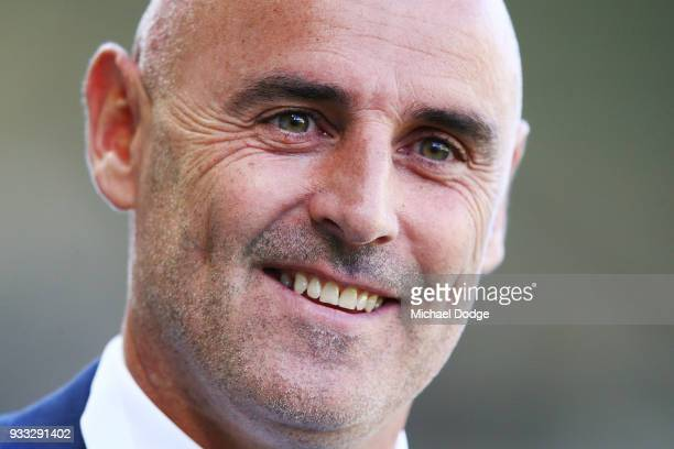 Victory head coach Kevin Muscat looks ahead during the round 23 ALeague match between the Melbourne Victory and the Central Coast Mariners at AAMI...
