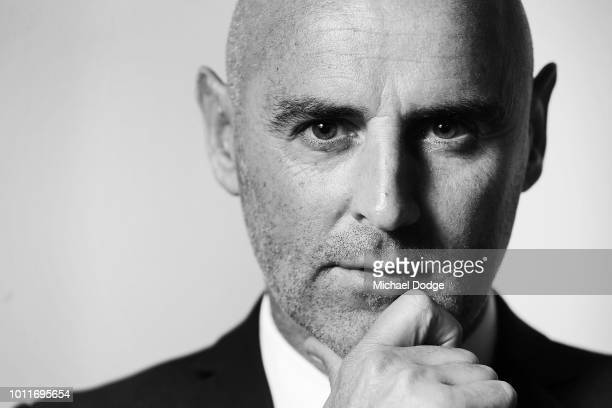 Victory head coach Kevin Muscat poses during a Melbourne Victory media opportunity at Gosch's Paddock on August 6 2018 in Melbourne Australia