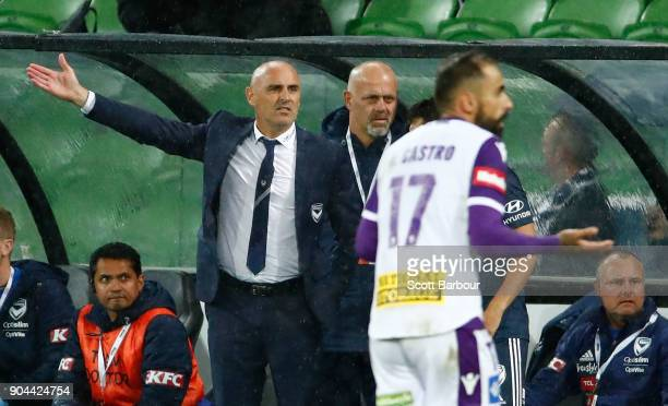 Victory Head Coach Kevin Muscat reacts after Diego Castro of the Glory was awarded a goal during the round 16 ALeague match between the Melbourne...