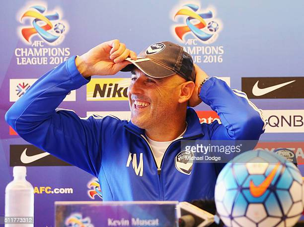 Victory head coach Kevin Muscat reacts during a Melbourne Victory press conference at AAMI Park on February 23 2016 in Melbourne Australia