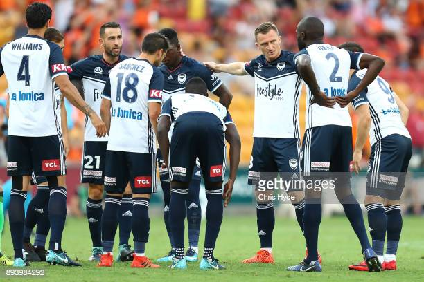 Victory huddle during the round 11 ALeague match between the Brisbane Roar and the Melbourne Victory at Suncorp Stadium on December 17 2017 in...