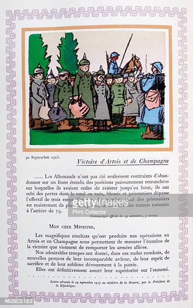 Victory in Artois and Champagne 30th September 1915 A book of the principal events of the war period A print from Le livre des heures héroïques et...