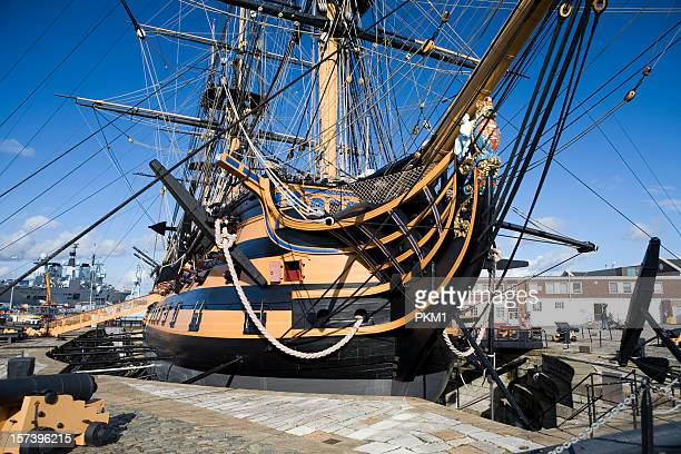 hms victory in portsmouth, england - portsmouth england stock pictures, royalty-free photos & images
