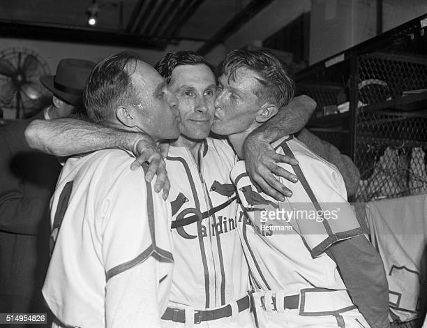Victory Kisses for 'The Cat' St Louis Missouri Joyous scene is enacted in the Cardinals dressing room at the conclusion of the sixth World Series...