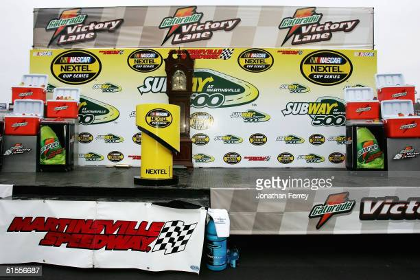Victory lane stands empty after the awards ceremony was cancelled when news broke that a Hendrick Motorsports plane crashed before the NASCAR Nextel...