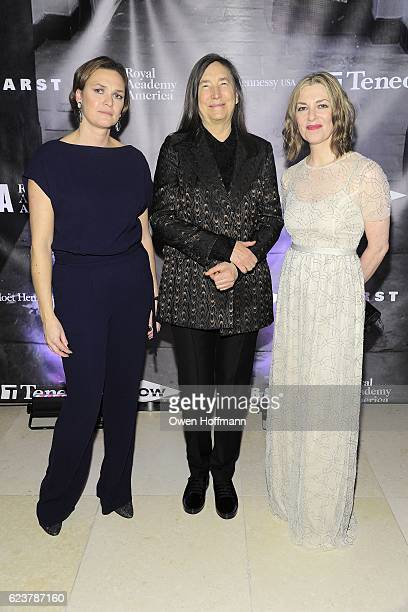 Victory Major Gore Jenny Holzer and Edith Devaney attend Royal Academy America Gala Honoring Norman Foster and Jenny Holzer at Hearst Tower on...